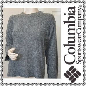 {Columbia} marled gray long slv knit crop top, L